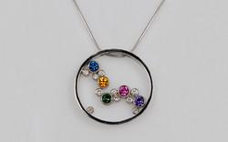 Multi Color Sapphire & Diamond Bubble