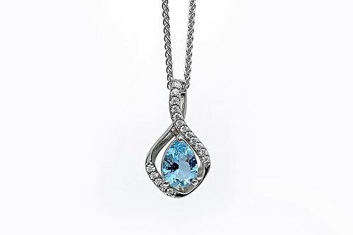 14KW Aquamarine Pendant with Diamond Accent