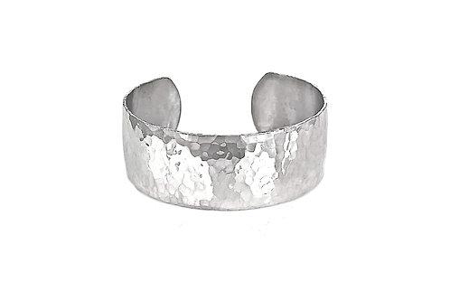Sterling Silver Hammered Bracelet  - Wide