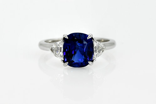 Platinum Sapphire and Epaulette Diamond Ring