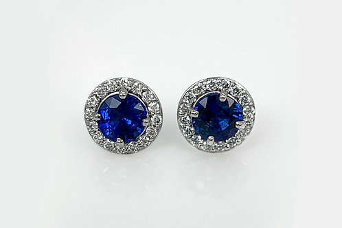 14KW Ceylon Sapphire Stud Earring with Diamond Halo