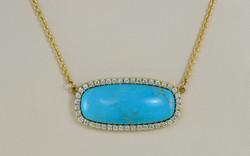 Untreated Cushion Cut Turquoise and Diamond Pendant