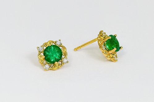 18KY Custom Emerald and Diamond Stud Earrings
