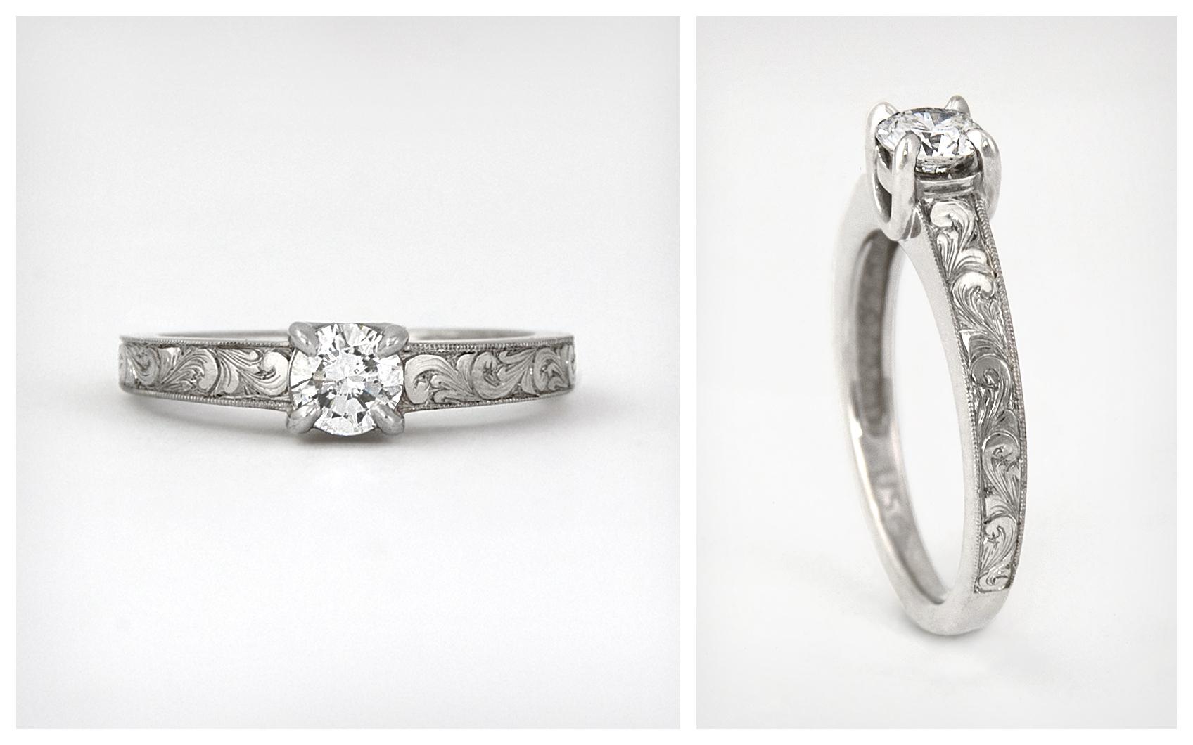 Hand Engraved .43 carat Diamond Solitaire