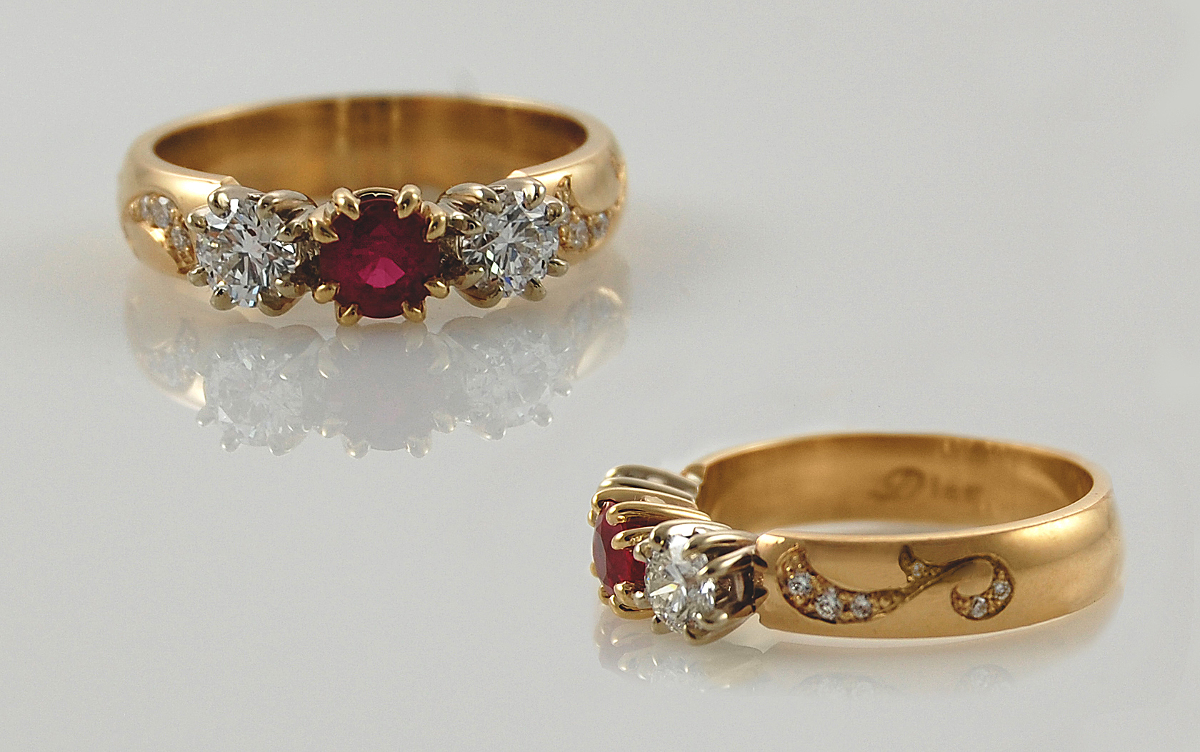 Ruby & Diamond with Diamond Swirl Accent