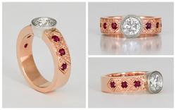 14KW Hand Engraved Bezel Set Diamond and