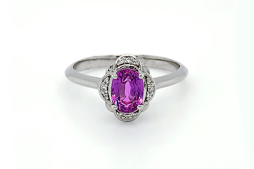 14KW Oval Pink Sapphire Ring with Diamond Halo