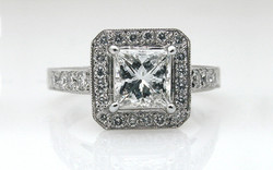 Platinum Halo with 1 carat Princess Cut Center