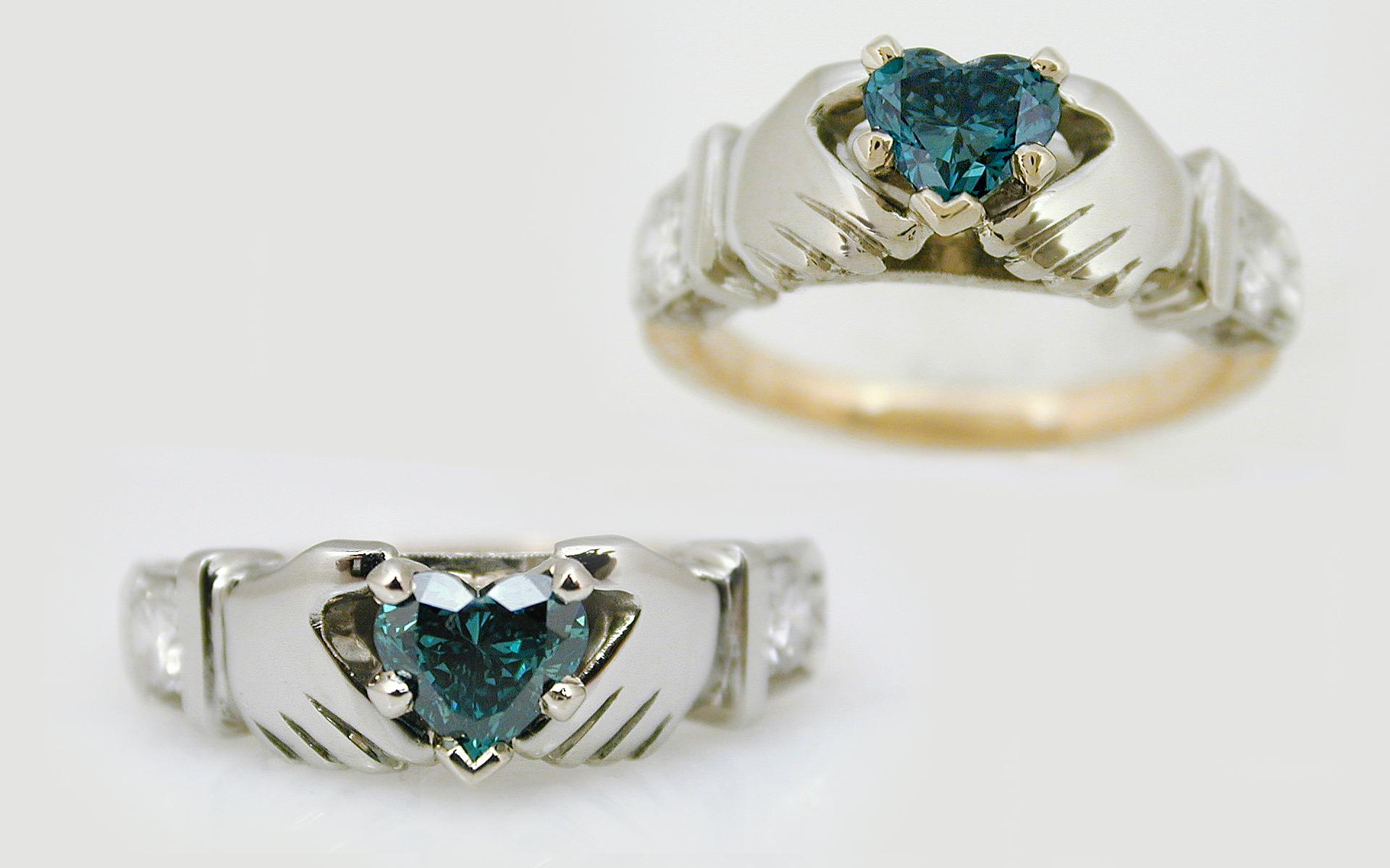 Blue Diamond Heart Claddaugh