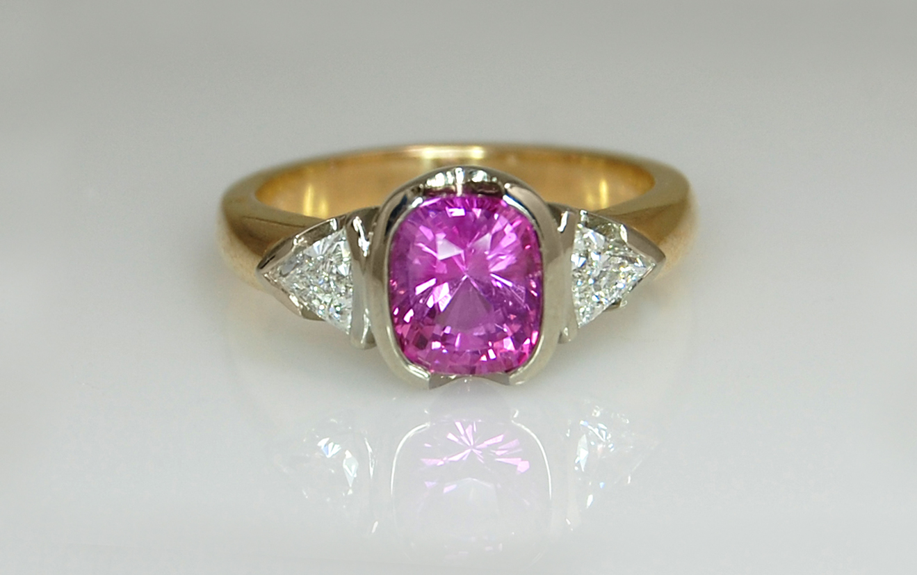 Two Tone Cushion Cut Pink Sapphire & Trillion Diamond