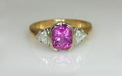 Two Tone Cushion Cut Pink Sapphire & Trillion Diamond