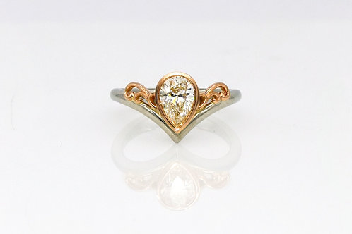 14K White and Rose Pear Shape Diamond Ring