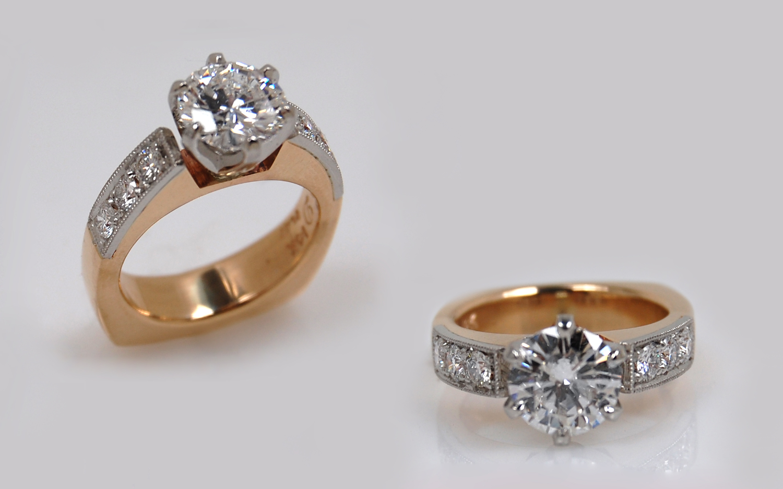 1.54 carat with Bead Set Diamonds in Platinum Top Plate
