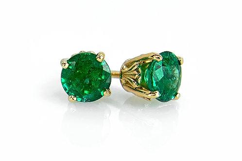 14KY Emerald Stud Earrings