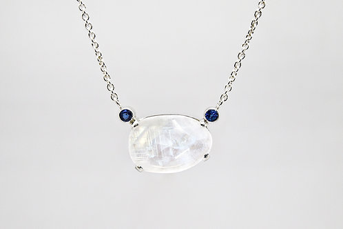 Sterling Moonstone Pendant with Sapphires