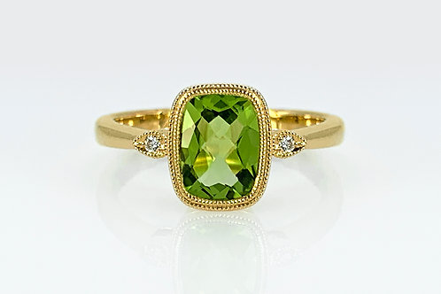14KY Cushion Checkerboard Cut Peridot Ring with Diamond Accent
