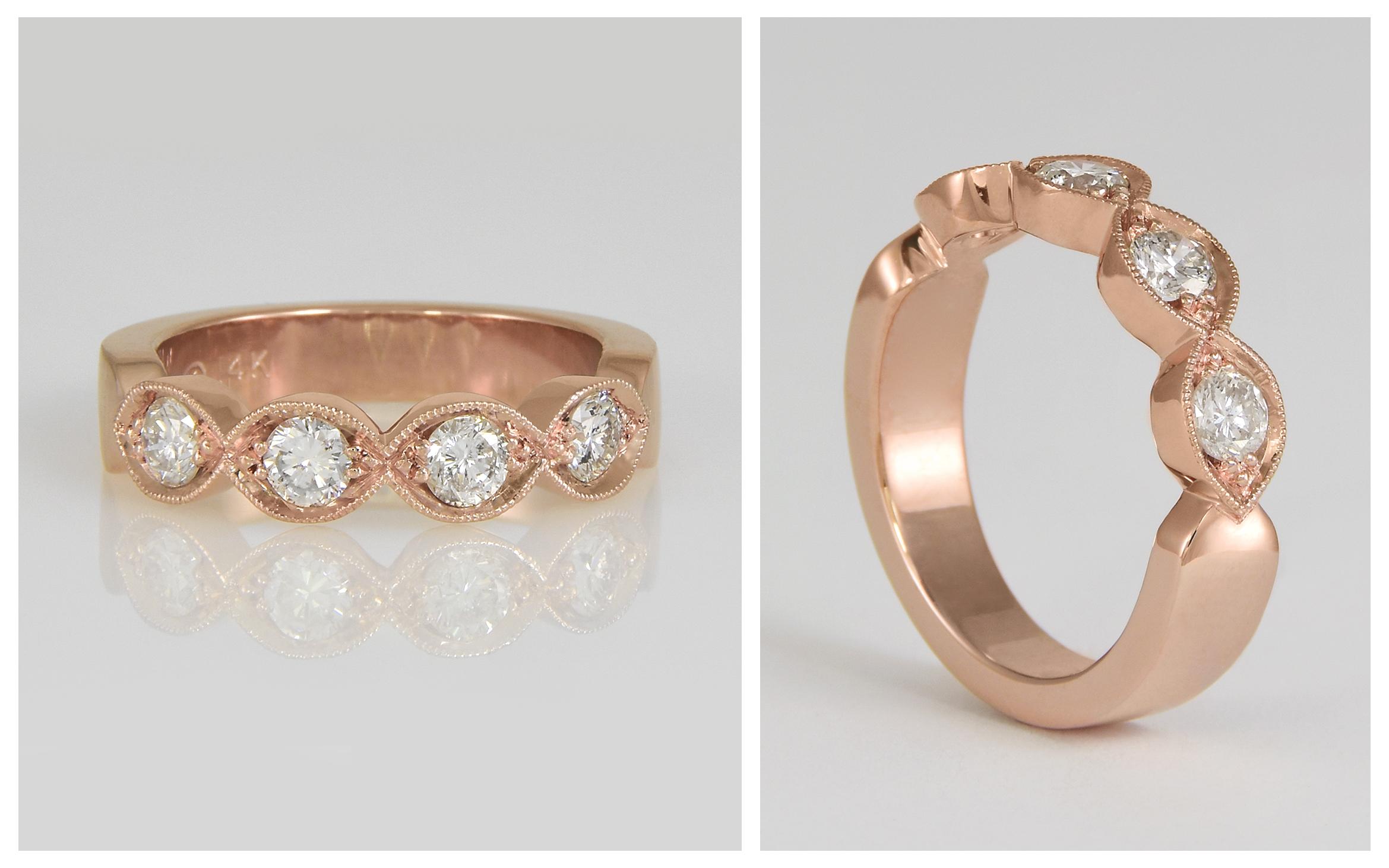 14R Rose Gold Custom Diamond Wedding Ban