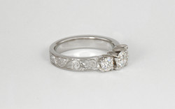 14KW Diamond 3 Stone Ring with Hand Engraved Band