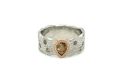 14KW/R Rose Cut Brown Diamond Ring