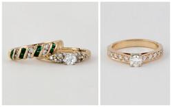 14KTT Graduated Bead Set Diamond Ring