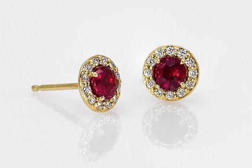 14KY Ruby Stud Earrings with Diamond Halo