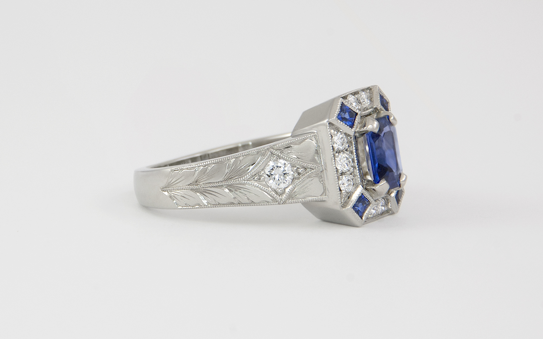 Emerald Cut Sapphire Vintage Inspired Ring