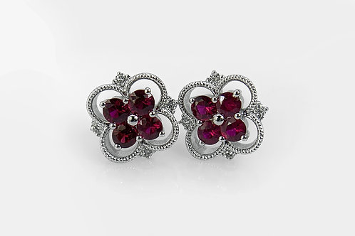 14KW Ruby Cluster Style Earring with Diamond Accent