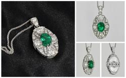 Hand Fabricated Platinum Oval Emerald and Diamond Pendant
