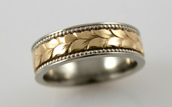Two Tone 7mm Band with Hand Engraved Stagger Leaf Pattern