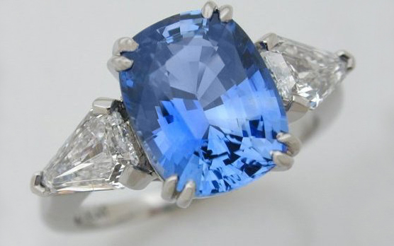 Hand Fabricated Sapphire & Kite Shaped Diamonds