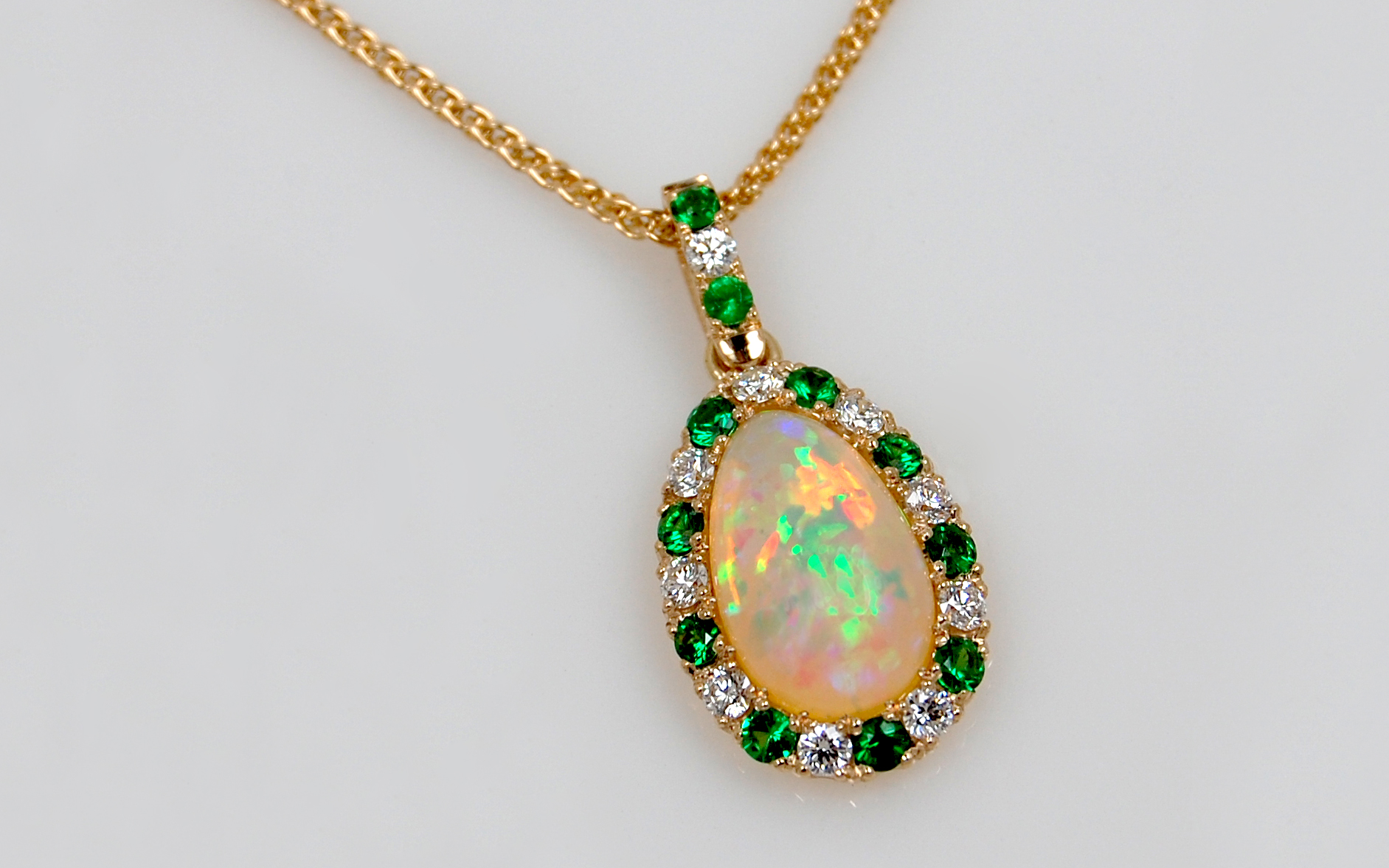 Ethiopian Opal with Tsavorite & Diamond