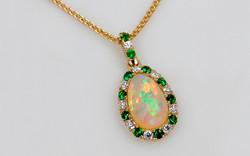 Ethiopian Opal with Tsavorite & Diamond