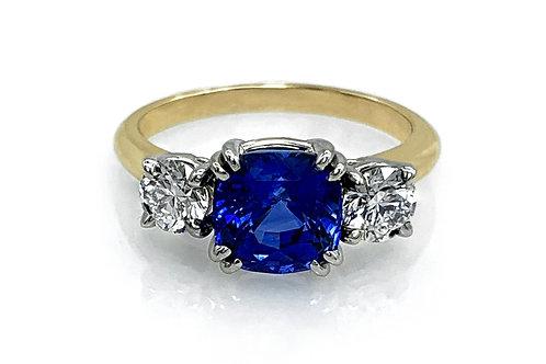 14KTT Cushion Cut Sapphire and Diamond Ring