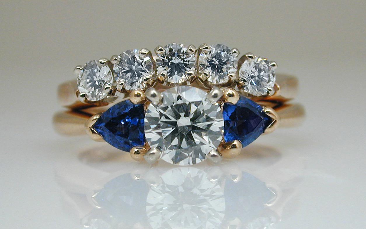 Diamond & Sapphire Engagement with Curved Diamond Wedding Band