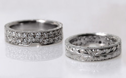 Double Row Bead Set Diamond Hand Engraved Band