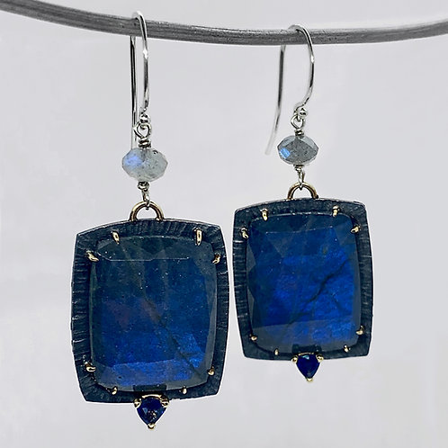 Sterling Silver and 14KY Labradorite and Trillion Cut Sapphire Earrings