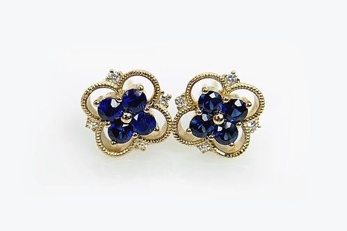 14KY Sapphire Cluster Style Earring with Diamond Accent