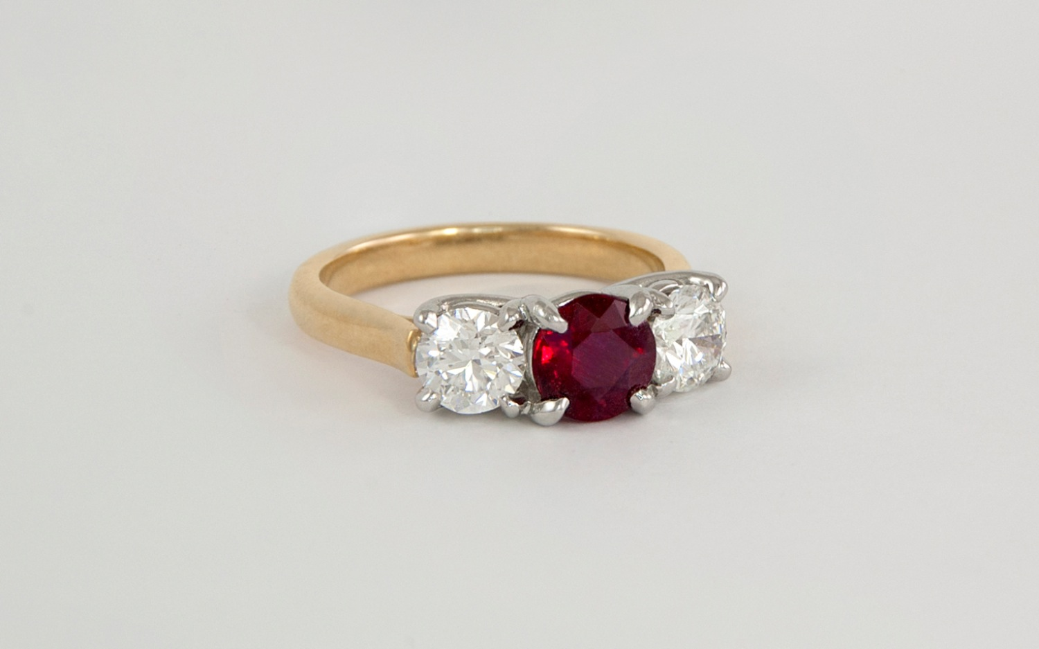18KY & Platinum Ruby and Diamond Ring