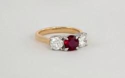18KY & Platinum Ruby and Diamond Ring