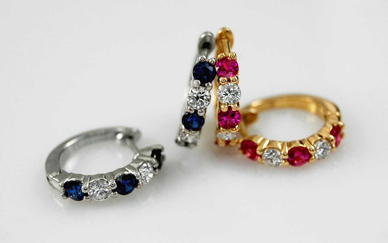 Sapphire & Ruby Huggies