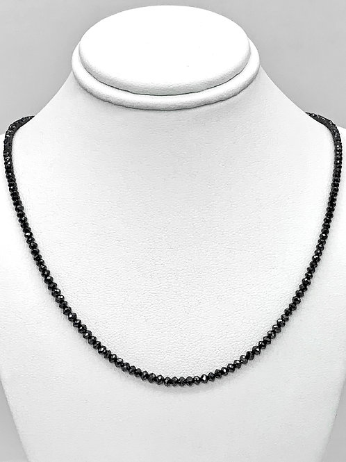 "14K White Gold Faceted Black Diamond 16"" Bead Necklace"