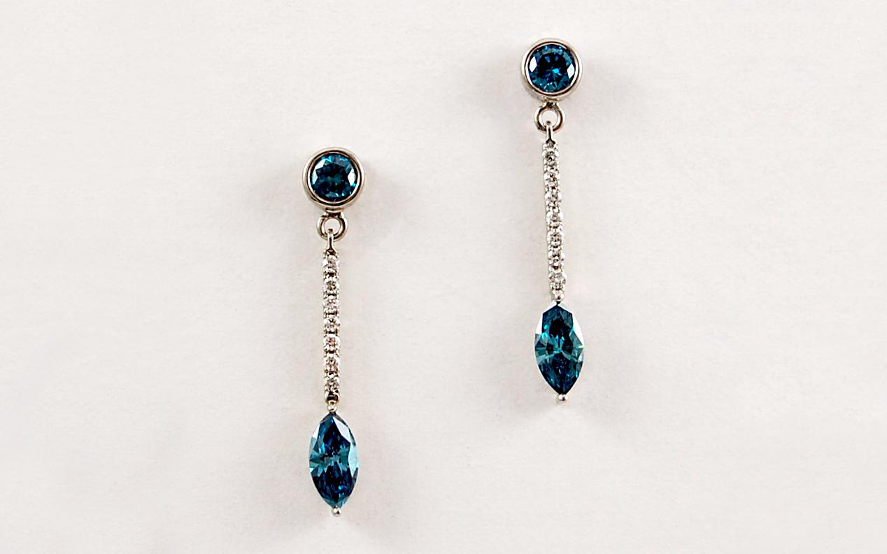 Blue & White Diamond Dangles
