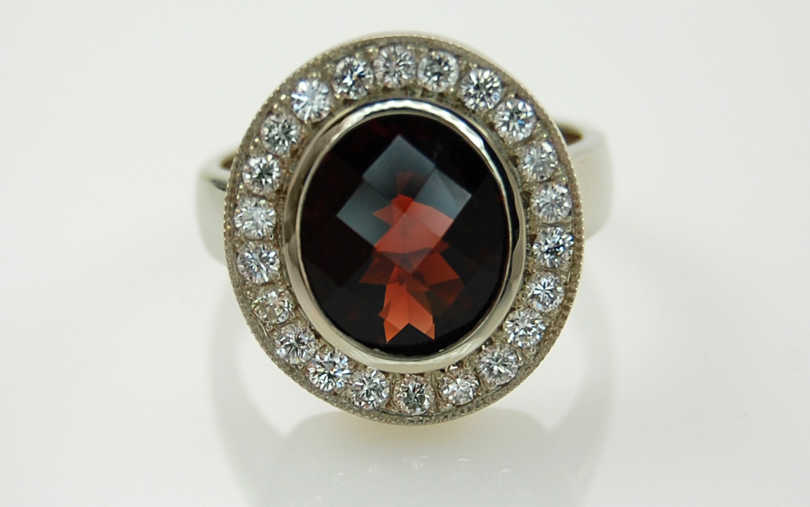 Checkerboard Cut Garnet Halo