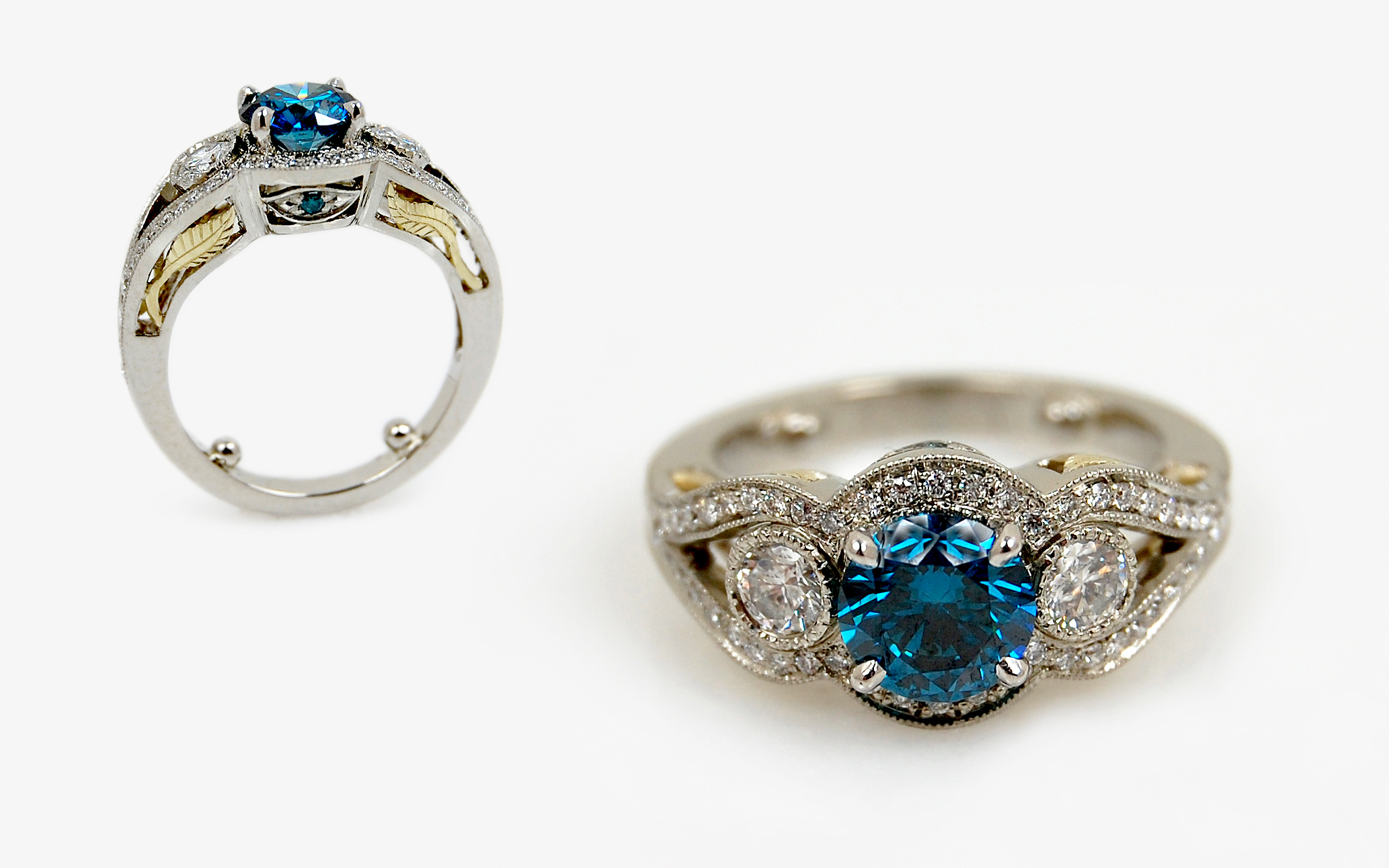 1 carat Blue Diamond with Diamond & Hand Fabricated Leaf Accents