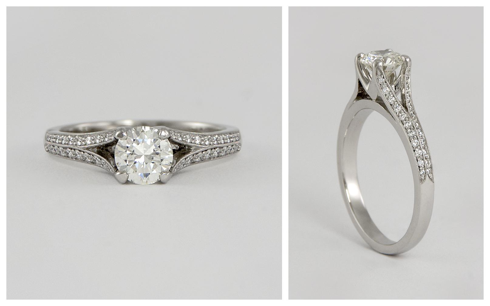 Platinum Split Shank Micropave Diamond Engagement Ring