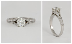Platinum Split Shank Micropave Diamond Engagement Ring