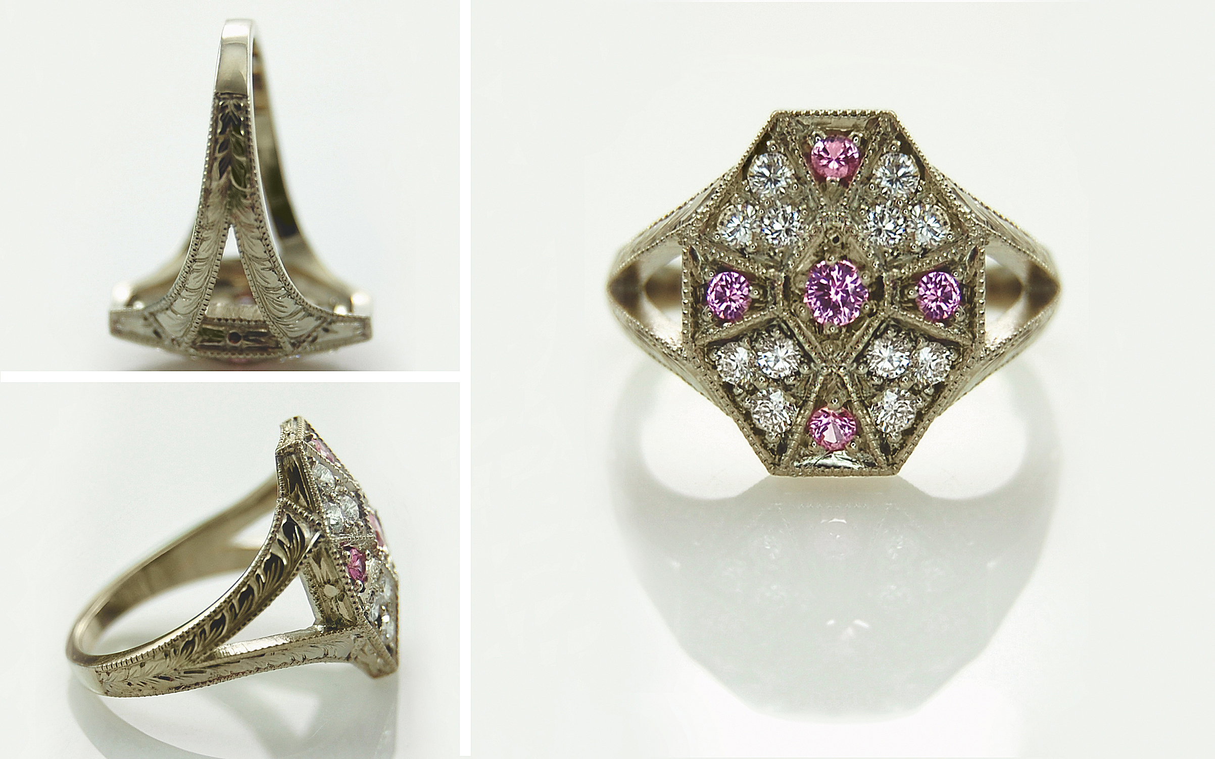 Vintage Style Pink Sapphire & Diamond Hand Engraved