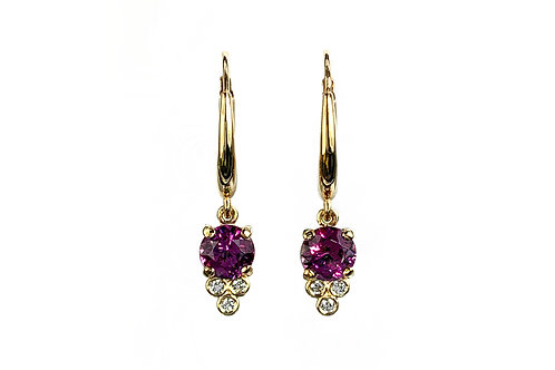 14KY Rhodolite Garnet Earrings with Diamond Accent