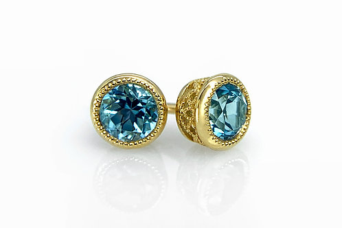 14KY Round Checkerboard Cut Blue Topaz Earrings