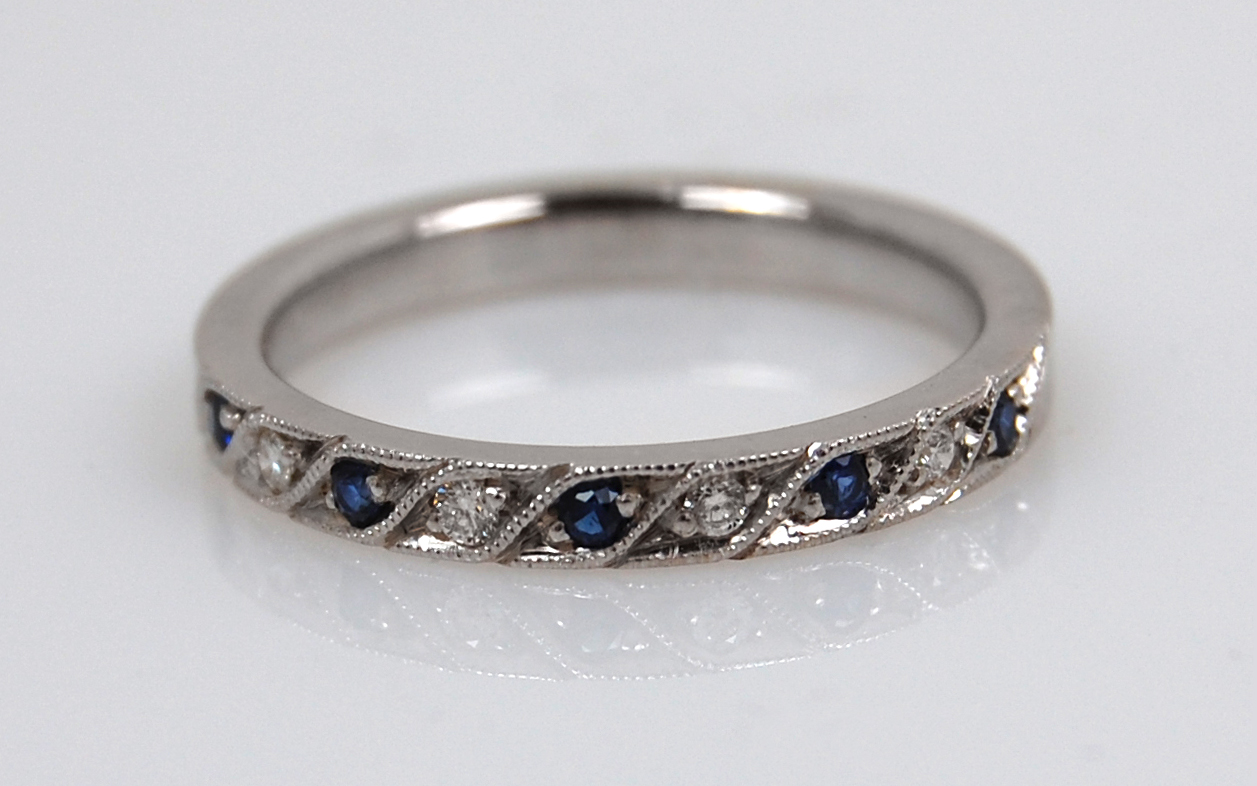 Bead Set Alternating Sapphire & Diamond